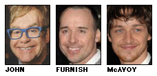 Elton John, David Furnish, James McAvoy